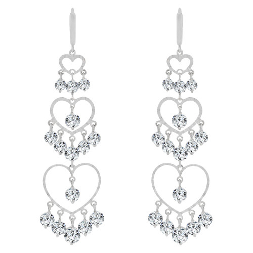 14k White Gold, Bold & Stunning Triple Layer Heart Earring Created CZ Crystals (E010-071)
