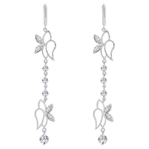 14k White Gold, Fancy Long Abstract Butterflies Dangling Drop Earring Created CZ Crystals (E010-073)