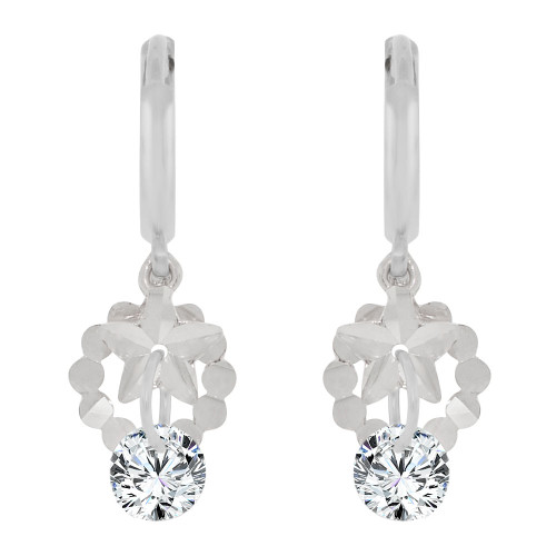 14k White Gold, Star Dangling Drop Earring Created CZ Crystals (E010-076)