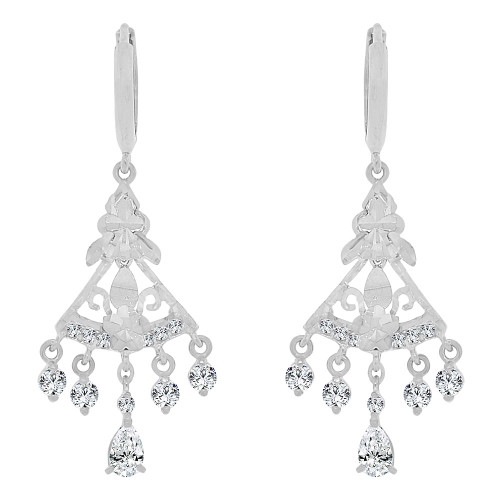 14k White Gold, Mini Chandelier Dangling Drop Earring Created CZ Crystals (E010-080)