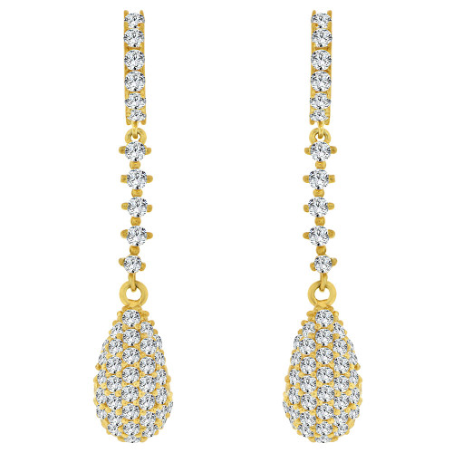 14k Yellow Gold, Fancy Pear Shape Dangling Drop Earring Created CZ Crystals (E020-002)