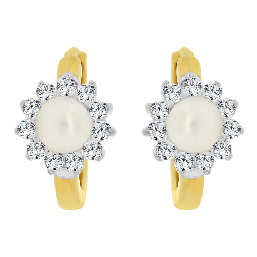 14K Yellow Gold White Rhodium, White Faux Pearls Mini Huggies Stud Earring Created CZ Crystals (E020-010)