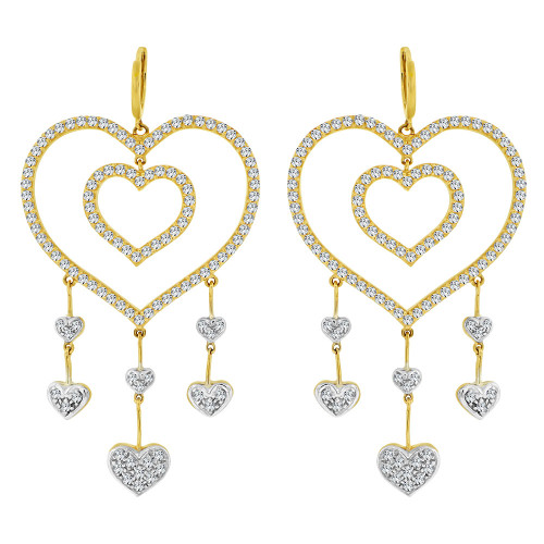14k Yellow Gold White Rhodium, Fancy Large Heart Design Dangling Earring Created CZ Crystals (E020-013)