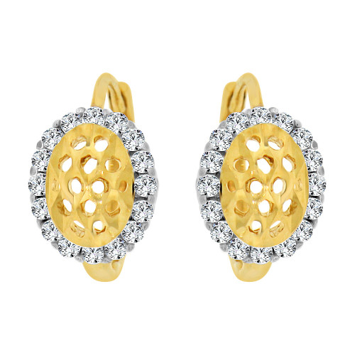 14k Yellow Gold White Rhodium, Mini Hoop Stud Huggies Earring Created CZ Crystals (E020-014)