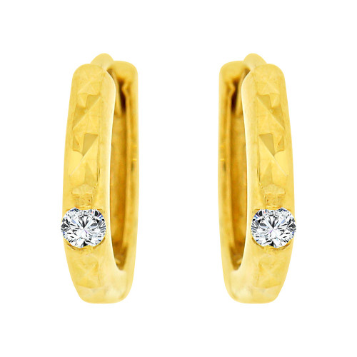 14k Yellow Gold, Mini Hoop Huggies Stud Earring Created CZ Crystals (E020-020)