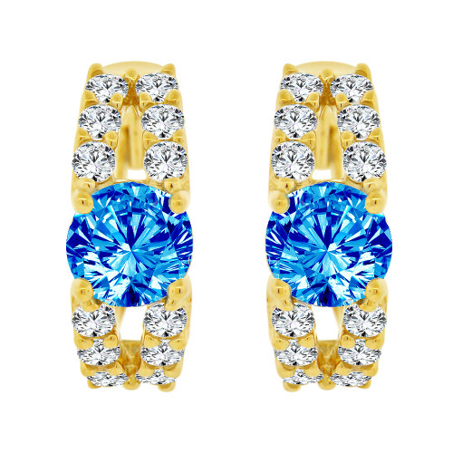 14k Yellow Gold, Fancy Mini Hoop Huggies Stud Earring Blue Created CZ Crystals (E020-024)