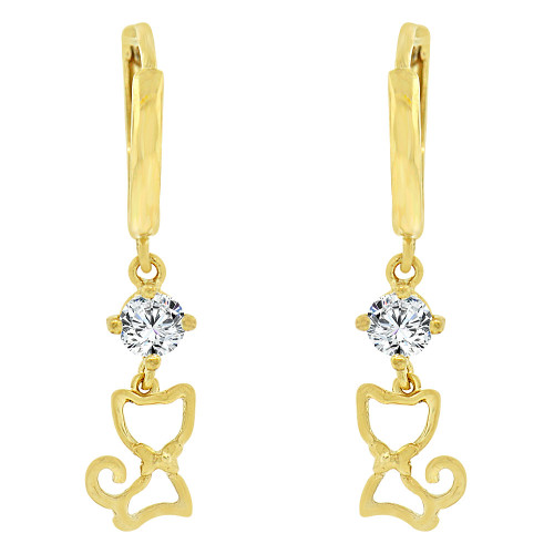 14k Yellow Gold, Kitty Cat Dangling Earring Created CZ Crystals (E020-025)
