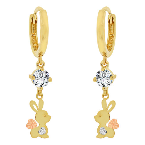14k Yellow Gold, Bunny Rabbit Dangling Earring Created CZ Crystals (E020-028)