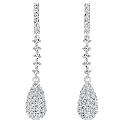 14k White Gold, Fancy Pear Shape Dangling Drop Earring Created CZ Crystals (E020-052)