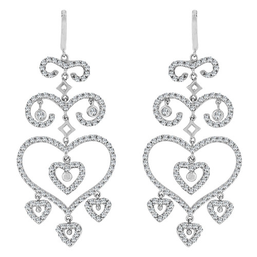 14k White Gold, Fancy Large Hearts Design Dangling Earring Created CZ Crystals (E020-054)