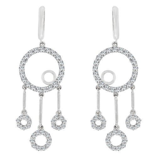 14k White Gold, Circular Rings Design Dangling Earring Created CZ Crystals (E020-062)
