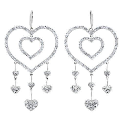 14k White Gold, Fancy Large Hearts Design Dangling Earring Created CZ Crystals (E020-063)