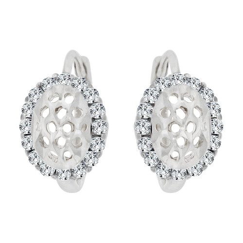 14k White Gold, Mini Hoop Stud Huggies Earring Created CZ Crystals (E020-064)