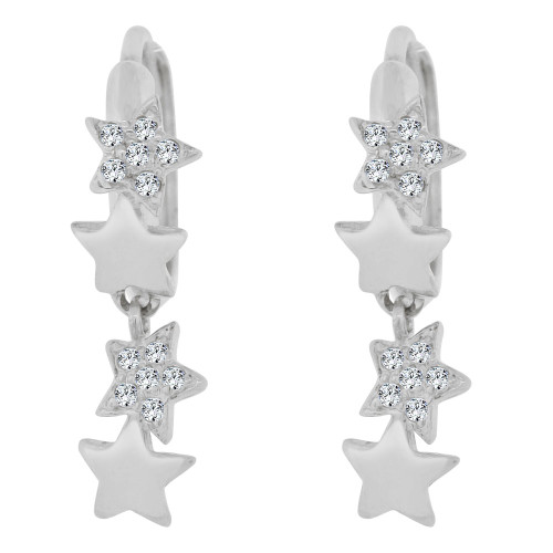 14k White Gold, Star Mini Hoop Stud Earring Created CZ Crystals (E020-065)