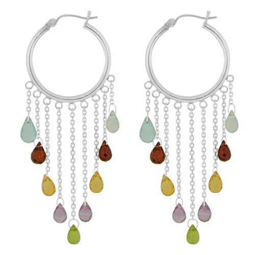 14k White Gold, Hoop Dangling Earring with Colorful Created CZ Crystals (E020-067)