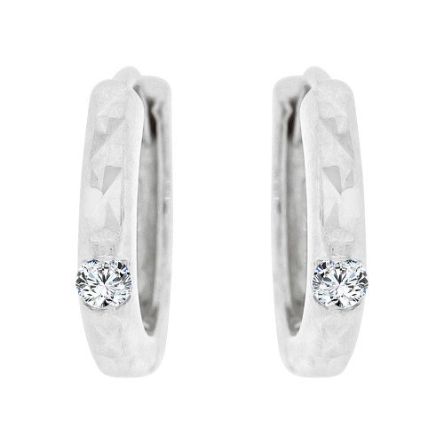 14k White Gold, Mini Hoop Huggies Stud Earring Created CZ Crystals (E020-070)