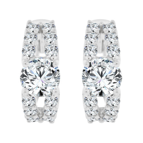 14k White Gold, Fancy Mini Hoop Huggies Stud Earring Created CZ Crystals (E020-072)