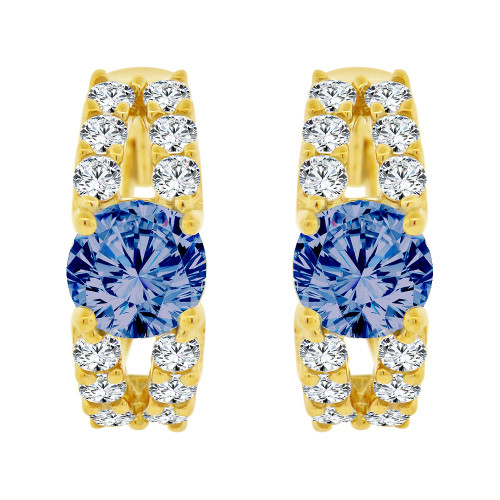 14k Yellow Gold, Fancy Mini Hoop Huggies Stud Earring Blue Created CZ Crystals (E020-074)