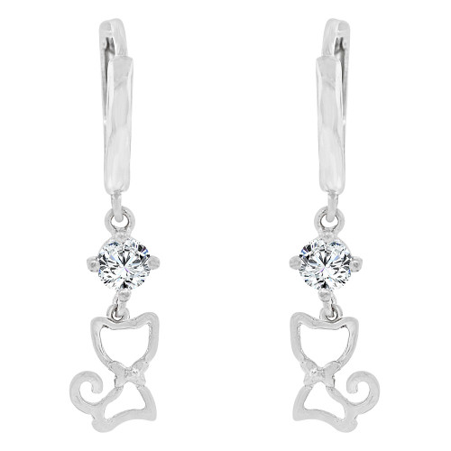 14k White Gold, Kitty Cat Dangling Earring Created CZ Crystals (E020-075)