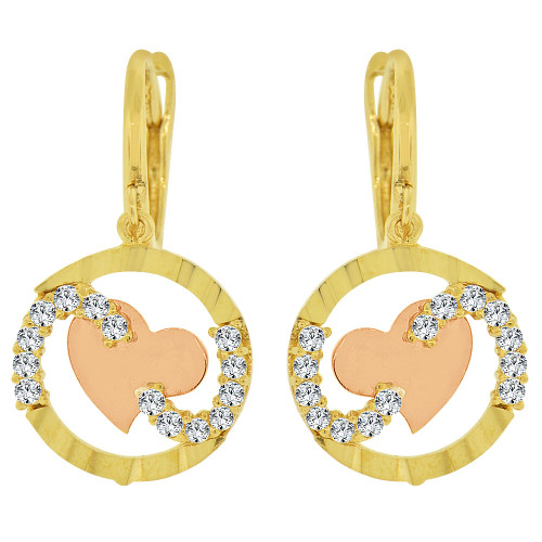 14k Yellow & Rose Gold, Heart Dangling Drop Earring Created CZ Crystals (E021-005)