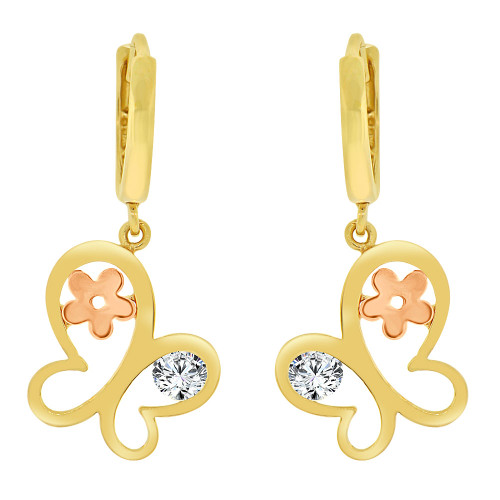 14k Yellow Gold, Modern Abstract Butterfly Dangling Drop Earring Created CZ Crystals (E021-012)