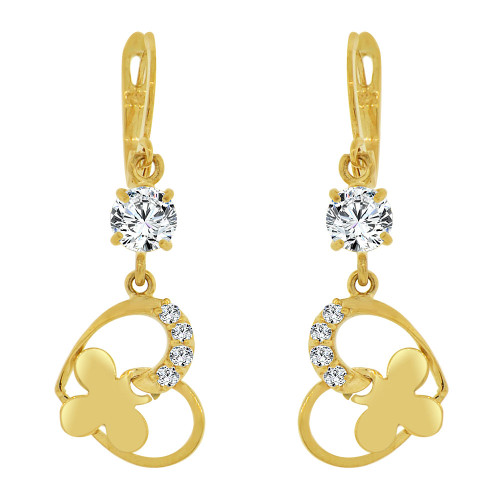 14k Yellow Gold, Modern Abstract Butterfly Dangling Drop Earring Created CZ Crystals (E021-014)