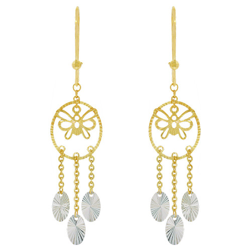 14k Yellow & White Gold, Fancy Extra Sparkly Brilliant Cut Drop Dangle Earring (E021-025)