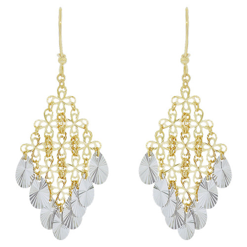 14k Yellow & White Gold, Fancy Chandelier Extra Sparkly Brilliant Cut Drop Dangle Earring (E021-026)