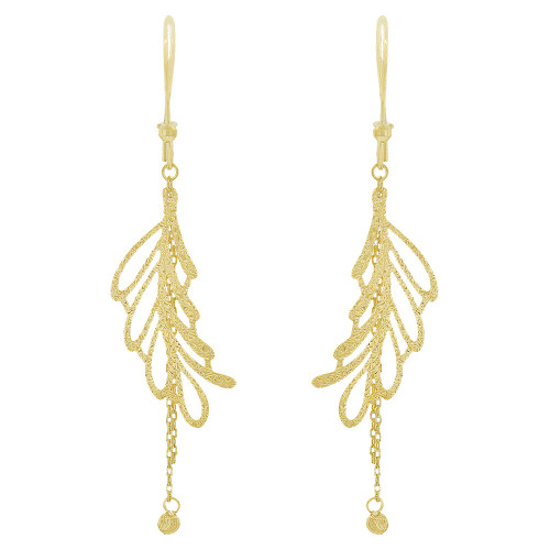 14k Yellow Gold, Fancy Extra Sparkly Brilliant Cut Drop Dangle Earring (E021-028)