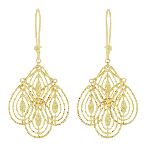 14k Yellow Gold, Fancy Chandelier Extra Sparkly Brilliant Cut Drop Dangle Earring (E021-029)