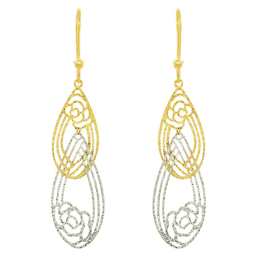14k Yellow & White Gold, Fancy Extra Sparkly Brilliant Cut Drop Dangle Flower Earring (E021-030)