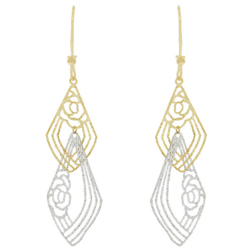 14k Yellow & White Gold, Fancy Extra Sparkly Brilliant Cut Drop Dangle Flower Earring (E021-031)