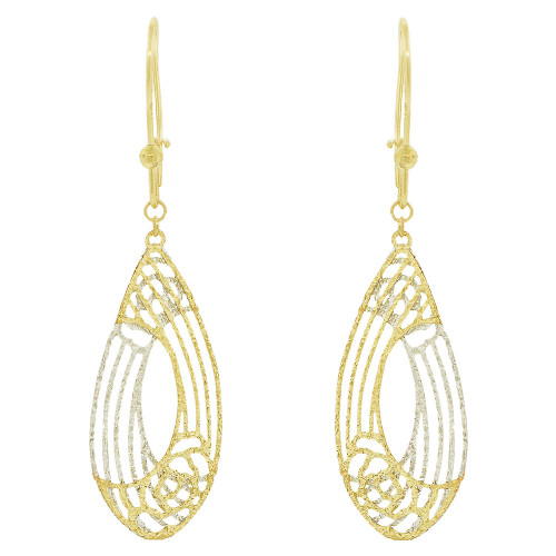 14k Yellow & White Gold, Fancy Extra Sparkly Brilliant Cut Drop Dangle Earring (E021-032)