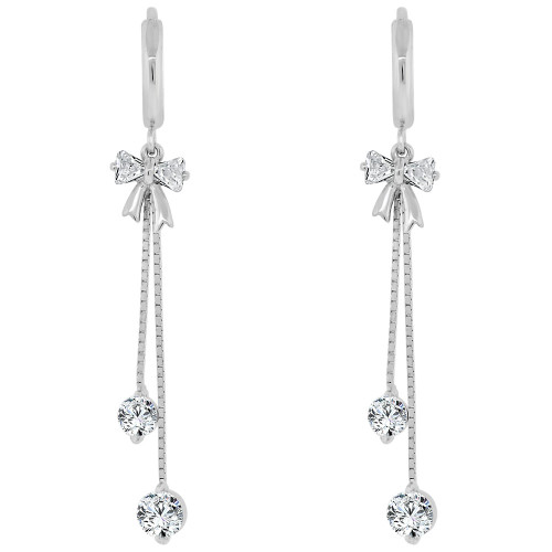 14k White Gold, Bow Dangling Drop Earring Created CZ Crystals (E021-058)