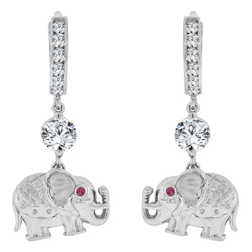 14k White Gold, Fancy Elephant Dangling Drop Earring Created CZ Crystals (E021-061)