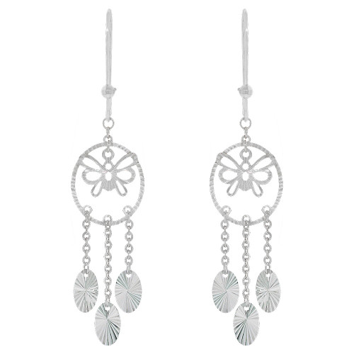 14k White Gold, Fancy Extra Sparkly Brilliant Cut Drop Dangle Earring (E021-075)