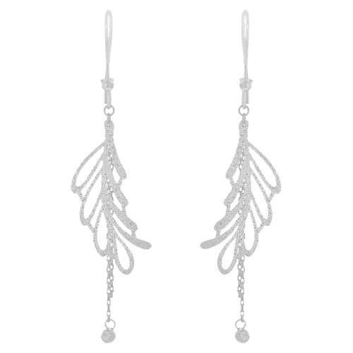 14k White Gold, Fancy Extra Sparkly Brilliant Cut Drop Dangle Earring (E021-078)