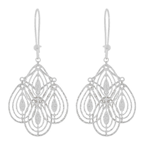 14k White Gold, Fancy Chandelier Extra Sparkly Brilliant Cut Drop Dangle Earring (E021-079)