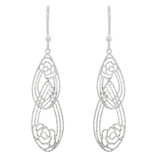 14k White Gold, Fancy Extra Sparkly Brilliant Cut Drop Dangle Flower Earring (E021-080)