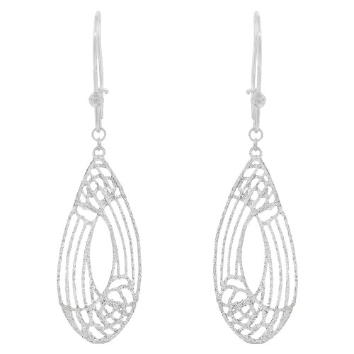 14k White Gold, Fancy Extra Sparkly Brilliant Cut Drop Dangle Earring (E021-082)
