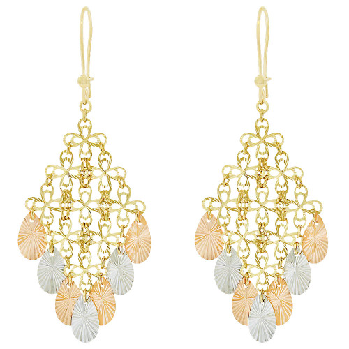 14k Tricolor Gold, Fancy Chandelier Extra Sparkly Brilliant Cut Drop Dangle Earring (E021-326)