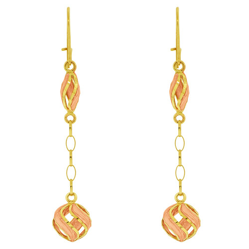 14k Yellow Gold, Hand Painted Pink Enamel Drop Earring (E022-010)