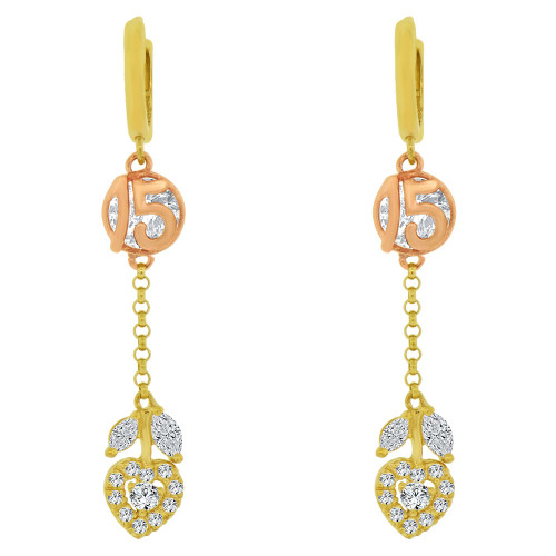 14k Yellow & Rose Gold, Quinceanera 15 Anos Heart Drop Earring Created CZ Crystals (E022-014)