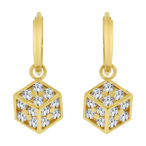 14k Yellow Gold, Box Design Dangling Earring Created CZ Crystals (E022-020)