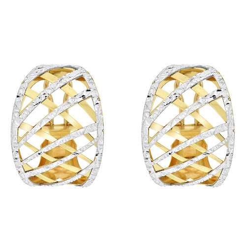 14k Yellow Gold White Rhodium, Fancy Diacut Omega Back Earring (E022-026)