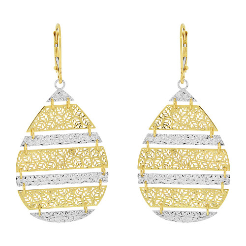 14k Yellow & White Gold, Fancy Drop Diacut Filigree Earring (E022-028)