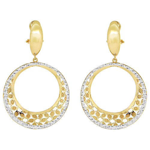 14k Yellow Gold White Rhodium, Fancy Drop Diacut Round Earring (E022-030)
