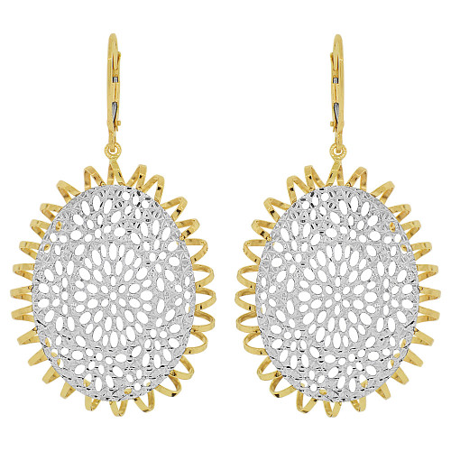 14k Yellow & White Gold, Fancy Drop Diacut Oval Pattern Earring (E022-032)