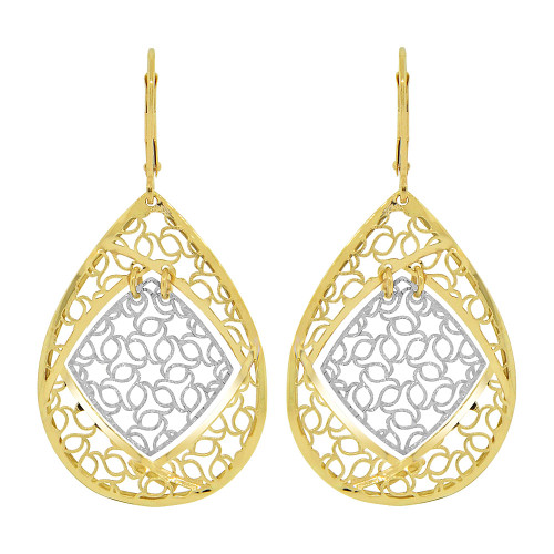 14k Yellow & White Gold, Fancy Drop Diacut Pattern Earring (E022-033)