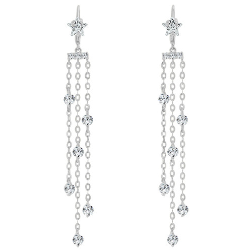 14k Gold White Rhodium, Long Drop Fancy Dangling Earring Created CZ Crystals (E022-061)